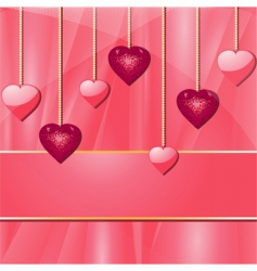 Pink valentine hearts and banner vector
