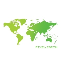 Pixel art game location style earth map vector image