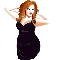 Plus size model in a black dress vector image