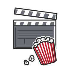 popcorn and movie clapper usa america tourist vector image