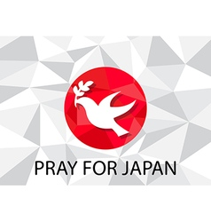 Pray for Japan with dove olive symbol vector image