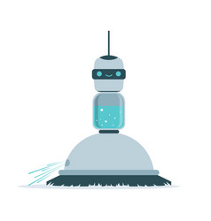 robot sweeping a floor vector image