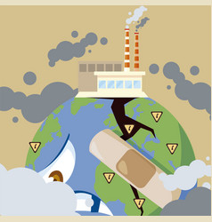 Sad earth planet with factories producing smog vector