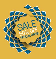 Sale 50 off special offer banner text in frame on vector