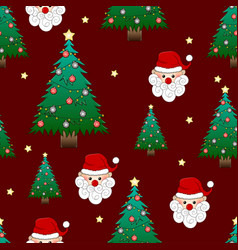 Santa claus and christmas tree on red background vector