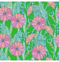 Seamless gerbera daisy flowers pattern or vector image