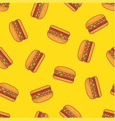 seamless pattern of burger with yellow background vector image