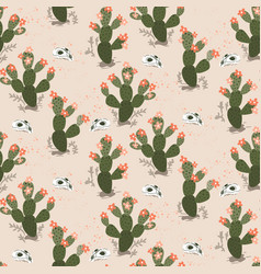 seamless pattern with cacti and skulls in vector image