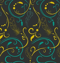Seamless pattern with green and yellow flowers and vector