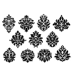 Set floral and foliate floral motifs vector