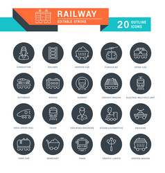 Set line icons railway vector