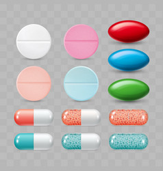 set of colorful pills color group vector image