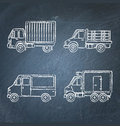 Set of truck icons sketches on chalkboard vector