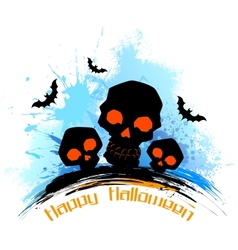 Skull in grungy Halloween Background vector image
