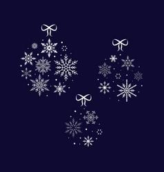 snowflake ball christmas and new year vector image