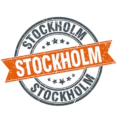 Stockholm red round grunge vintage ribbon stamp vector