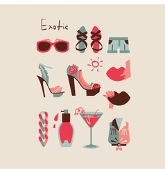 Summer collection of isolated woman clothes and vector