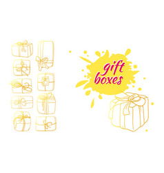 Template box gift 3 vector
