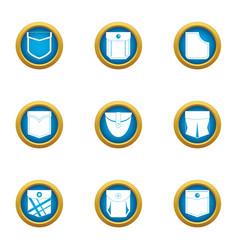 Textile pocket icons set flat style vector
