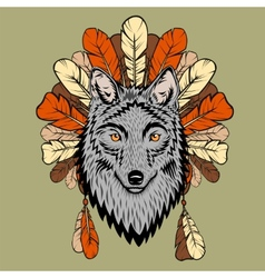 Totem with wolf and feathers vector image
