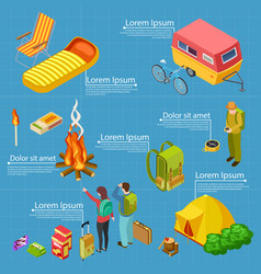 tourism camping isometric info banner vector image