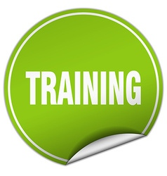 training round green sticker isolated on white vector image