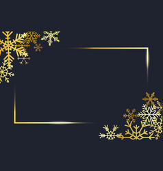 transparent gold frame with golden snowflakes vector image