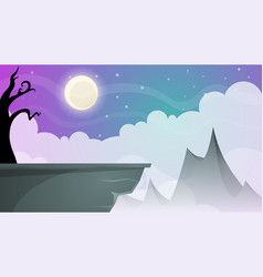 travel night cartoon landscape tree mountain vector image