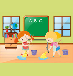 two girls cleaning classroom together vector image