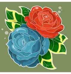 Two roses old-school styled vector
