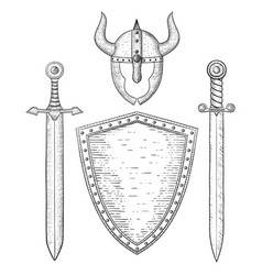 viking weapon and accessory hand drawn sketch vector image
