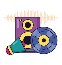 vinyl speaker megaphone music festival vector image