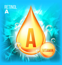 Vitamin a retinol vitamin gold oil drop vector