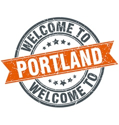 Welcome to portland orange round ribbon stamp vector