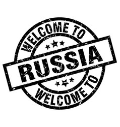 welcome to russia black stamp vector image