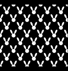 white rabbit seamless on black background vector image