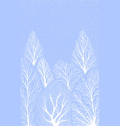 winter landscape with white tree trunks falling vector image
