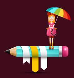 young woman with parasol on big pencil vector image