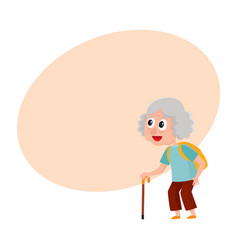 old senior woman tourist with backpack and stick vector image