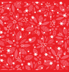 red holly berry and stars holiday seamless vector image