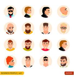 set avatars businessmen in face vector image