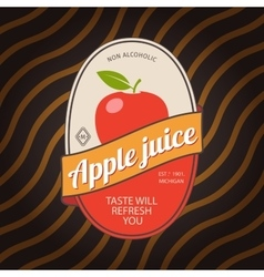 Apple juice retro fruit label vector image vector image
