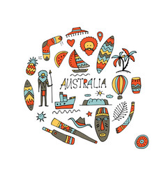 australia icons set sketch for your design vector image