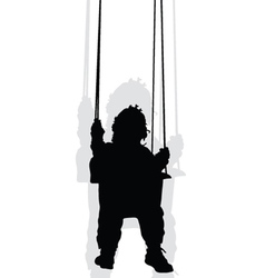 baby on a swing black silhouette vector image vector image