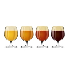 Beer glass set Lager and ale amber stout vector image
