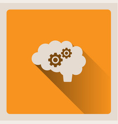 brain thinking on yellow background with shade vector image vector image