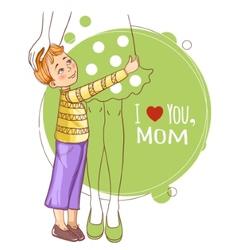 Little boy embraces his mother vector image