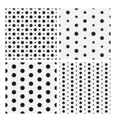 Monochrome dotted seamless patterns collection vector image vector image