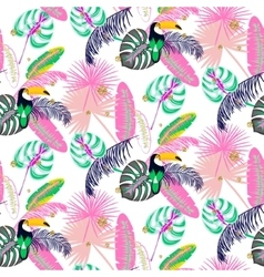 Monstera tropic pink plant leaves and toucan bird vector image