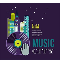 Music and night life of city landscape background vector image vector image